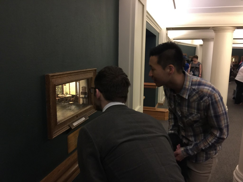 Aaron and Jimmy Looking at Thorne Miniatures at Chicago Art Institute