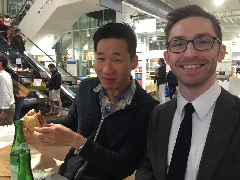 Jimmy and Aaron at Eataly Chicago Eating Sandwiches