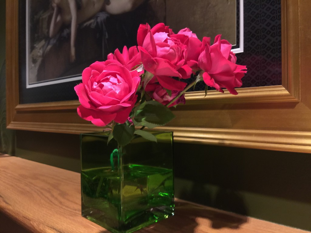 Our Garden Roses on the Fireplace