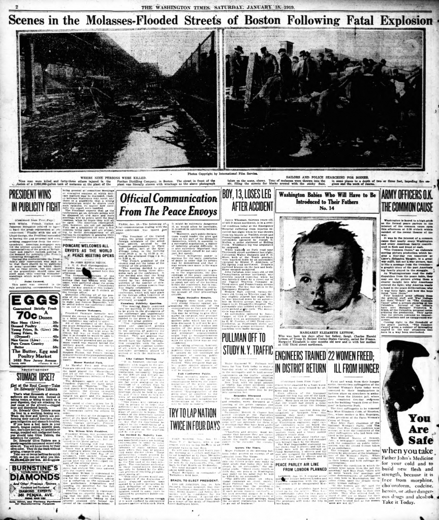 Washington Times Great Boston Molasses Flood Disaster of 1919