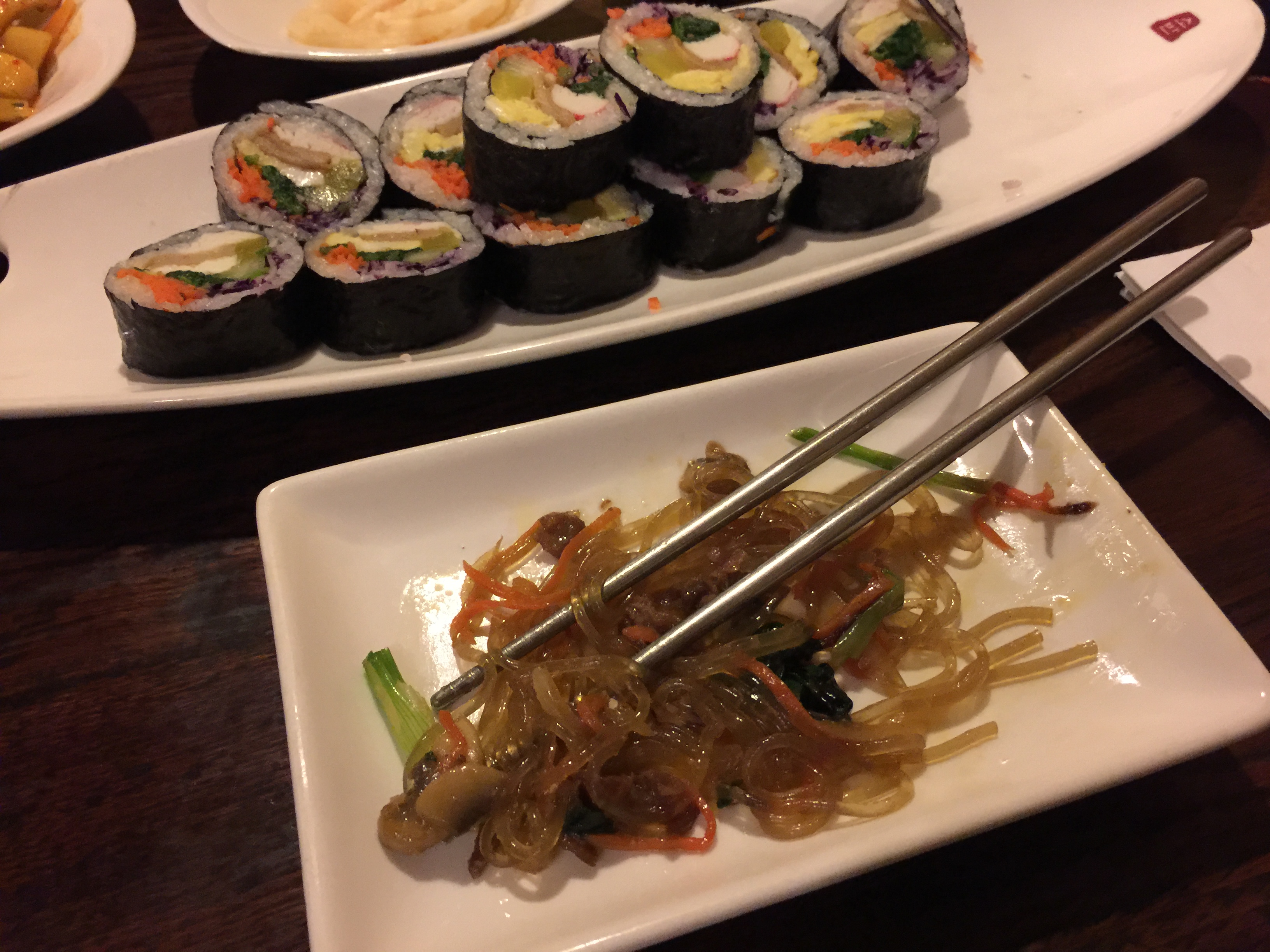 Japchae and Kimbap Korean Appetizers Sobahn Kansas City