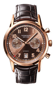 Tiffany CT60 Chronograph in 18k rose gold, 42 mm, self-winding mechanical movement with a brown soleil dial