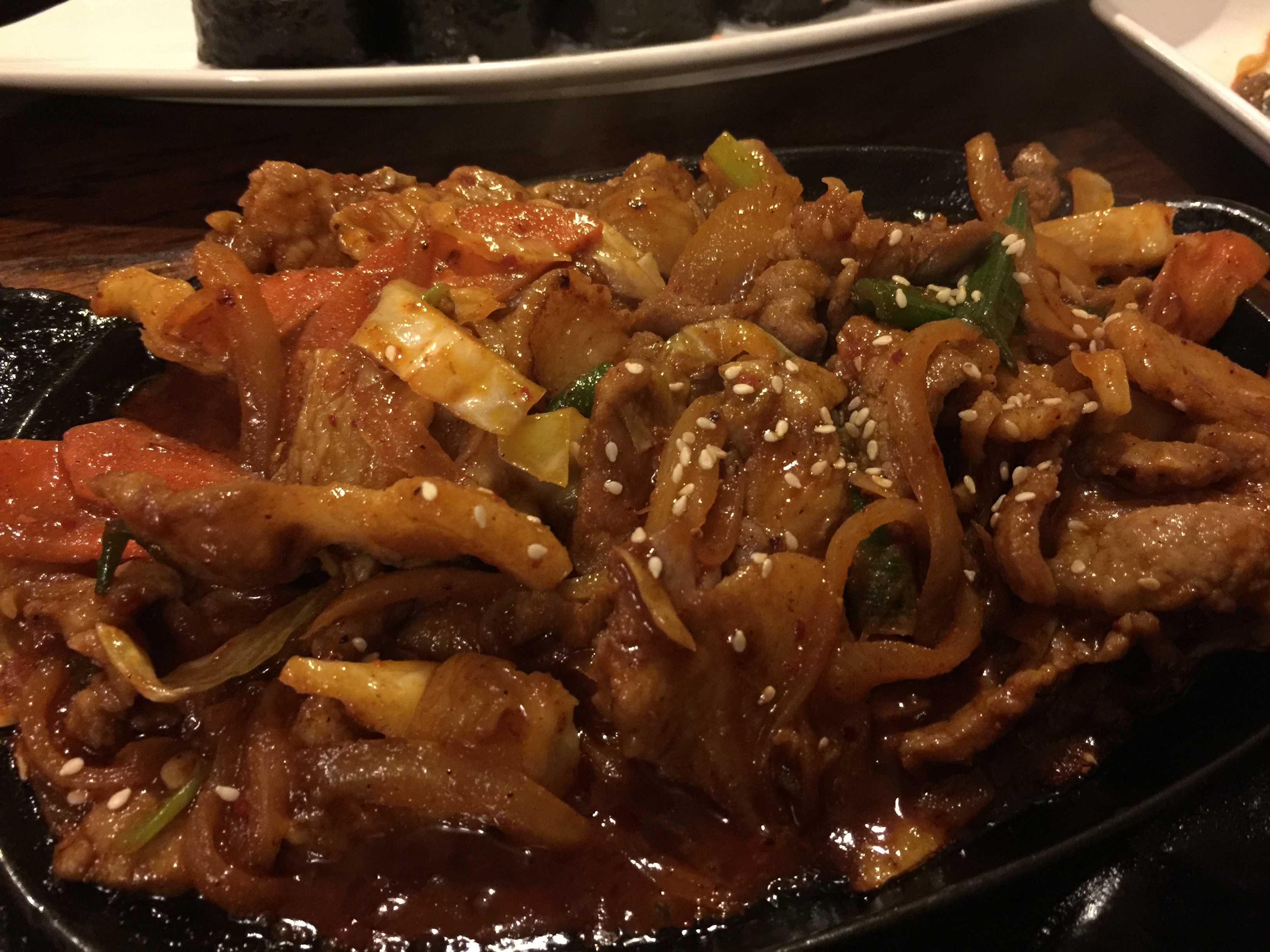 jaeyuk bokkeum spicy pork with vegetables Sobahn korean restaurant in Kansas City