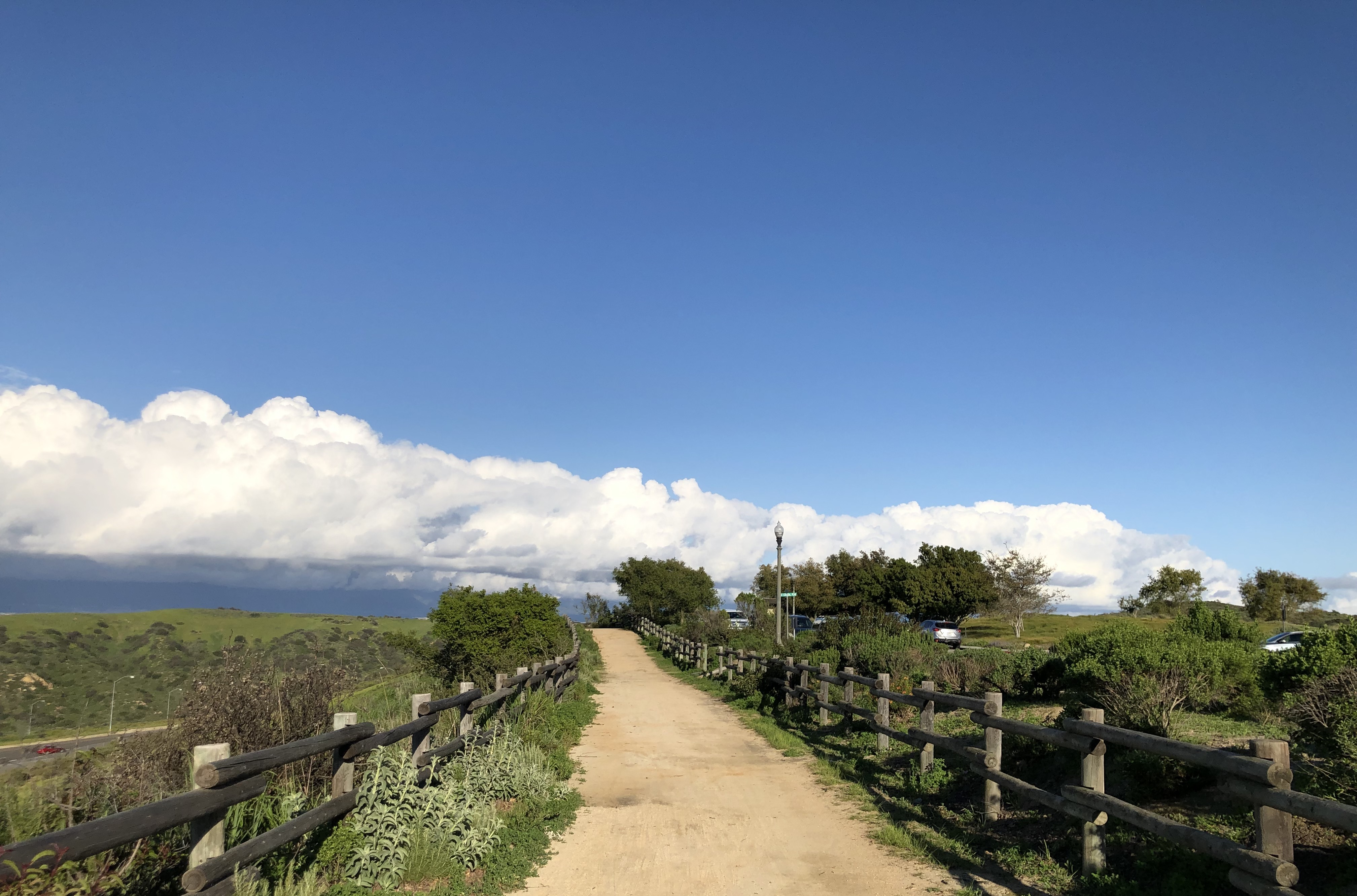 California Walking and Biking Trails with a Rainstorm in the Distance