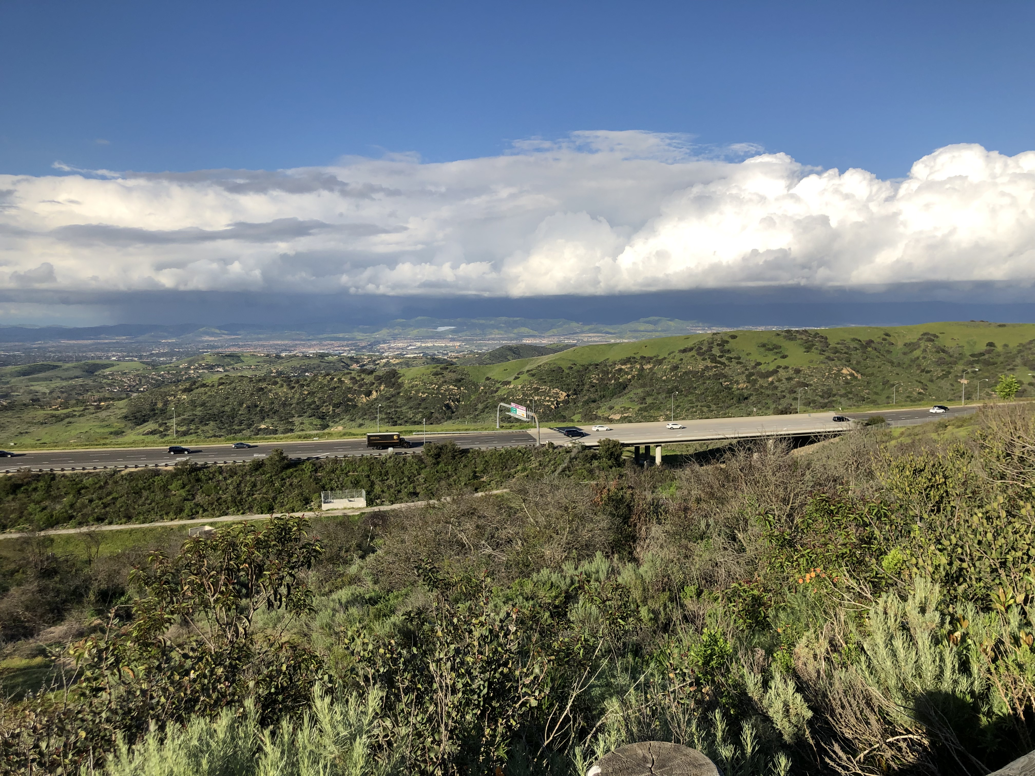 Watching a UPS Truck in the Distance as We Overlook Southern California