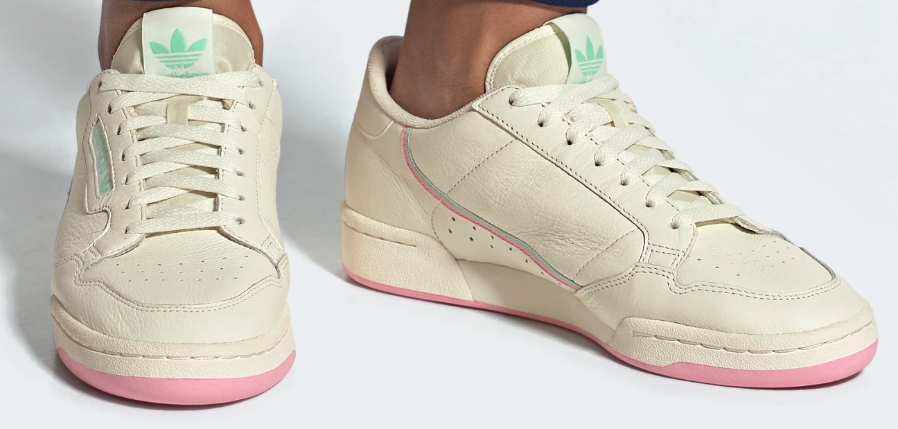 Adidas Continental 80 Shoes Pink and Mint Mens
