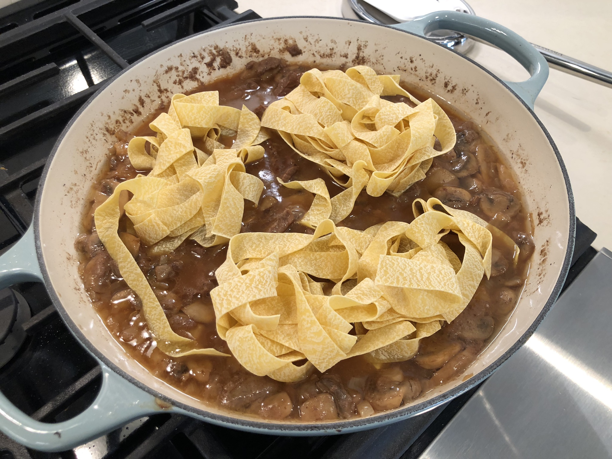 Place the Noodles in the Beef Stroganoff