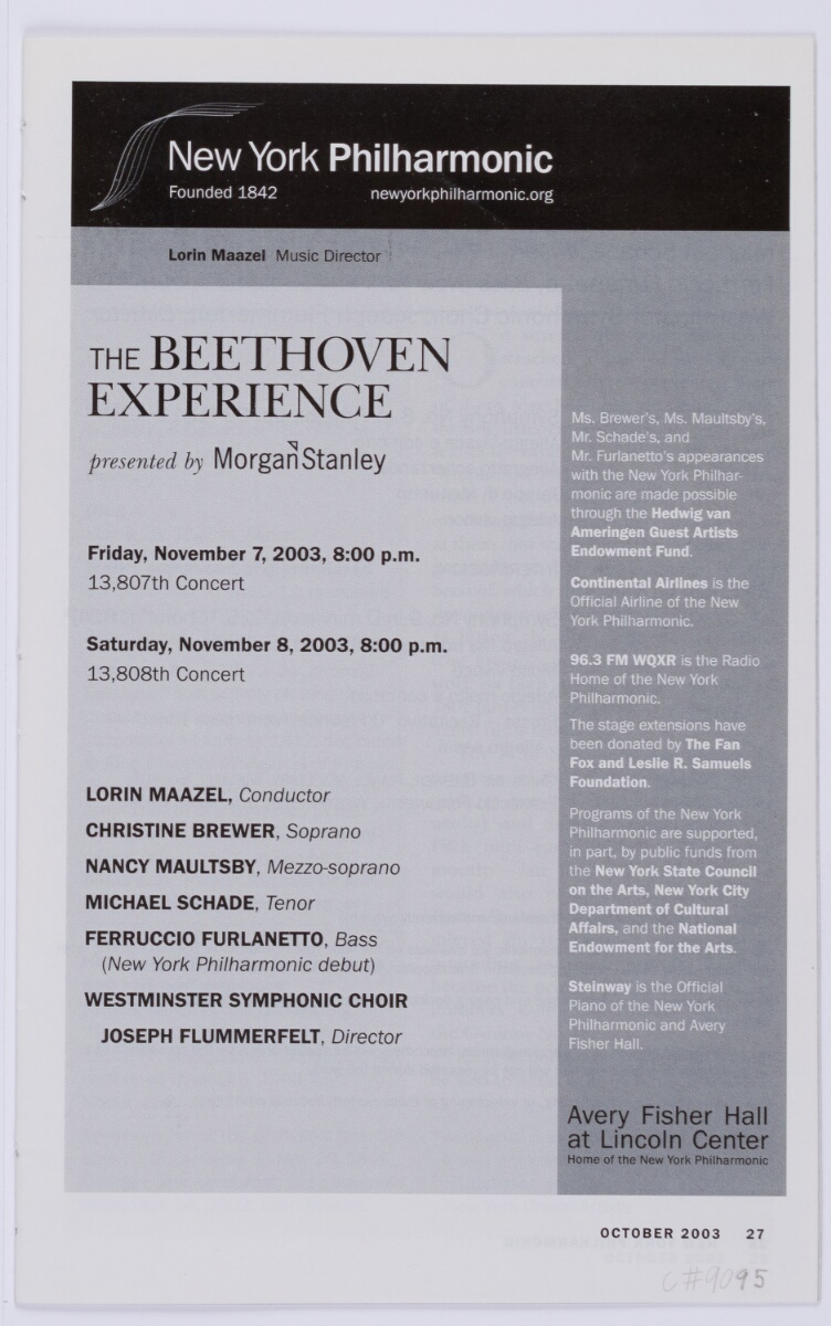 Performing Beethoven's 9th Symphony with the New York Philharmonic -
