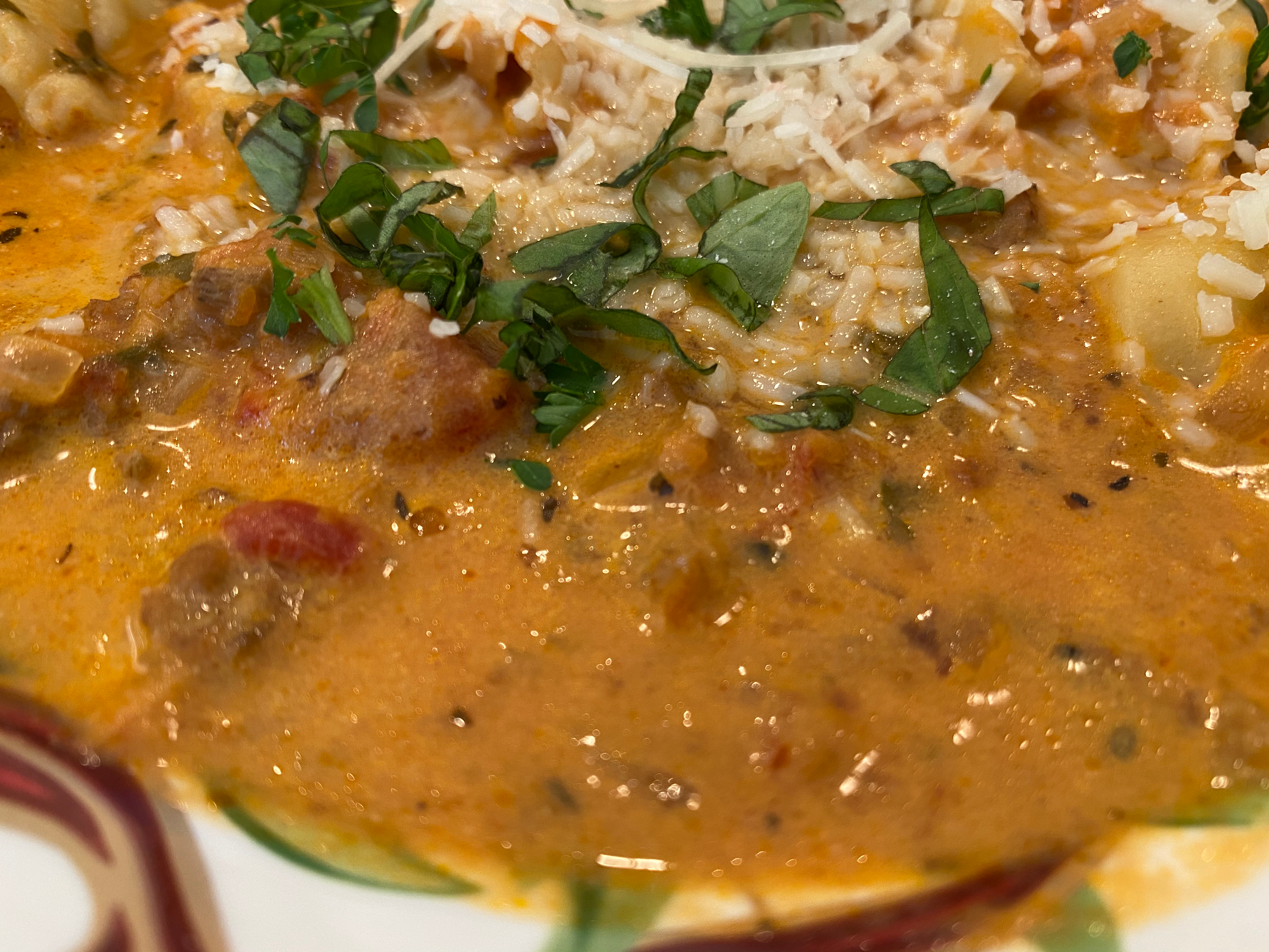 Closeup of Finished Dutch Oven Tortellini Soup with Italian Sausage
