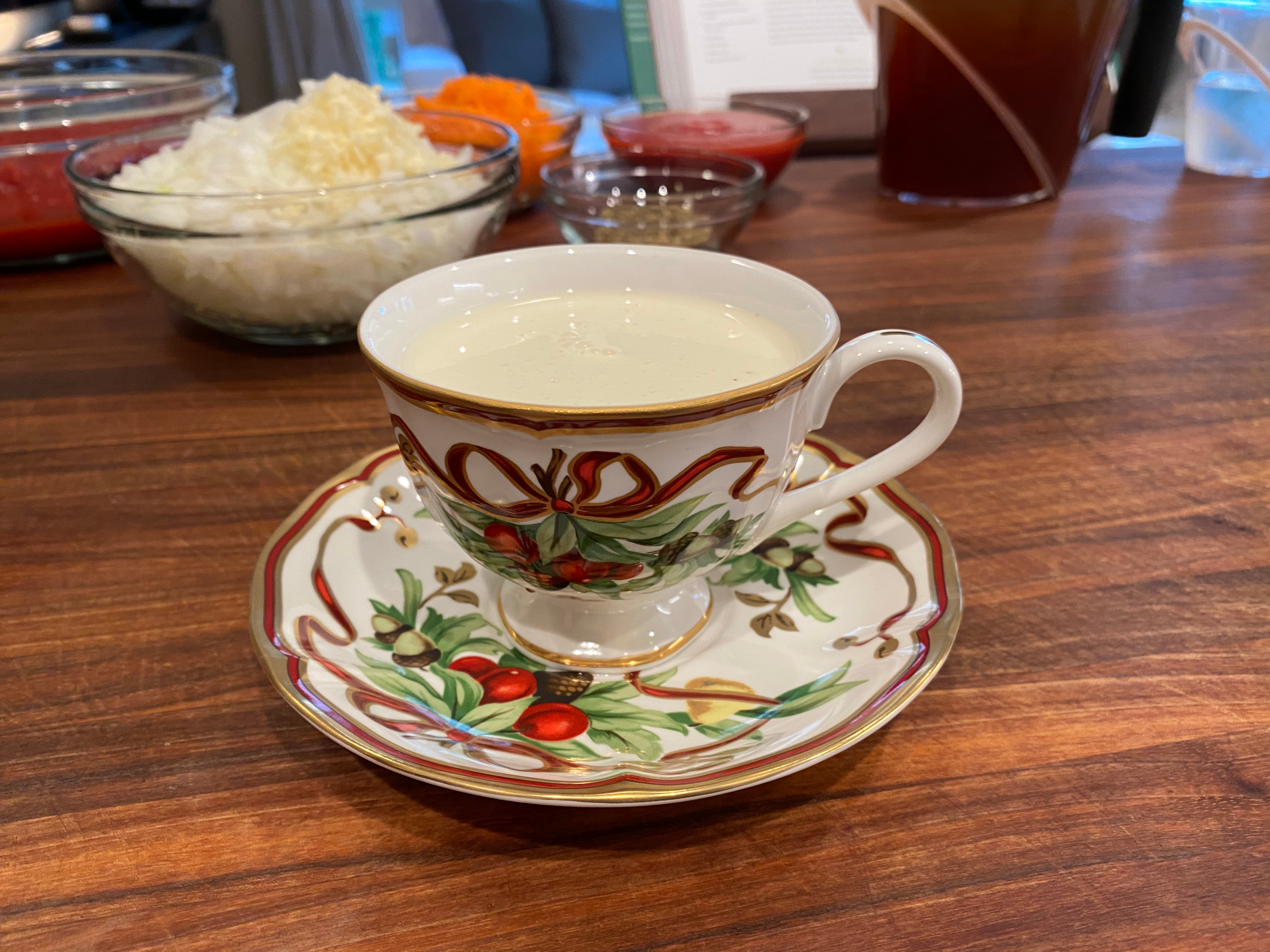 Drinking Eggnog While Cooking