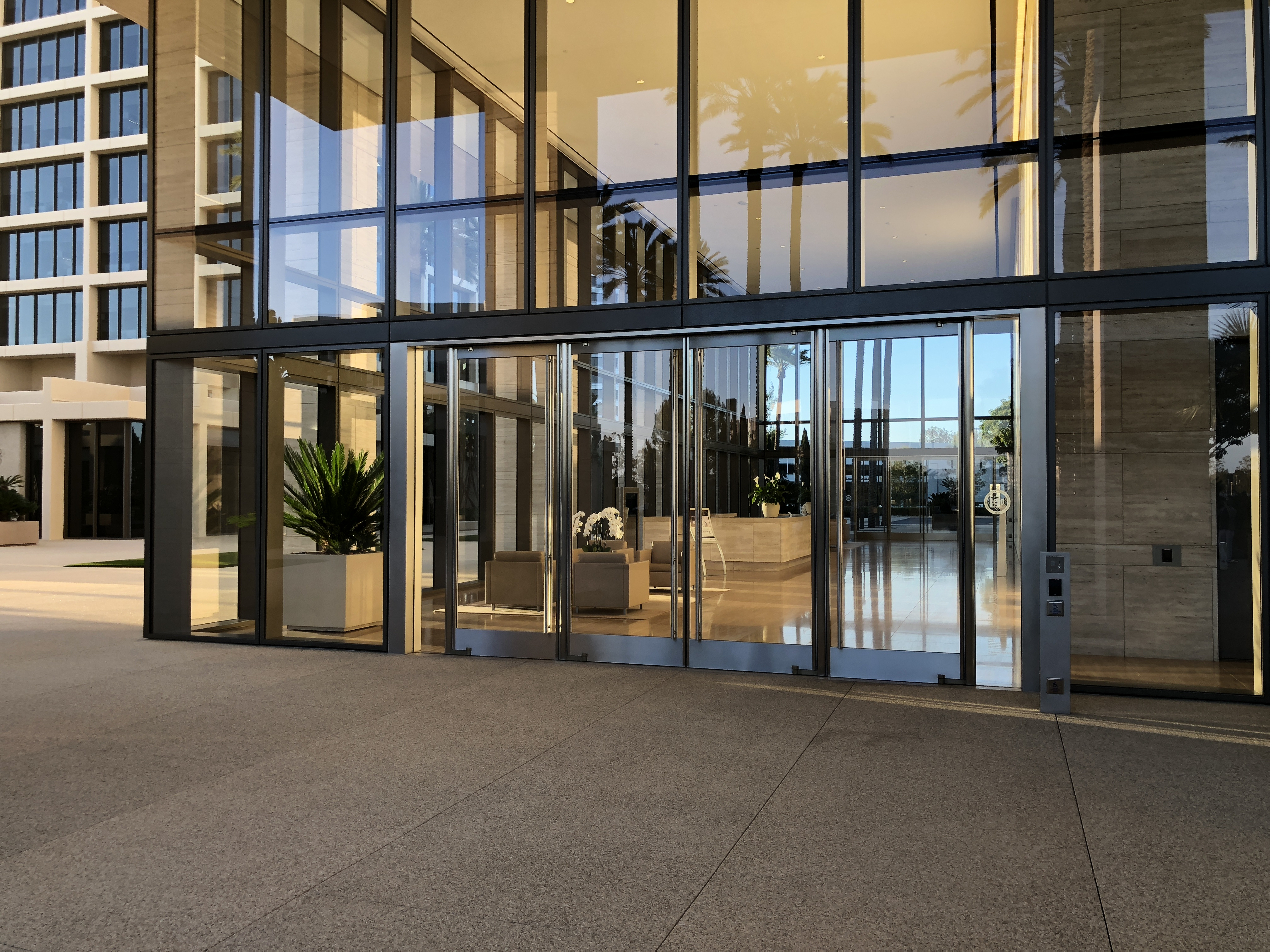 Approaching the Lobby of 520 Newport Center Drive